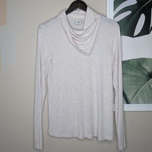 CAbi Sawyer Top Oatmeal Long Sleeves Cowl Neck
